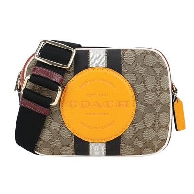 COACH 大圓標馬車條紋織布方形相機包(中/棕黃)