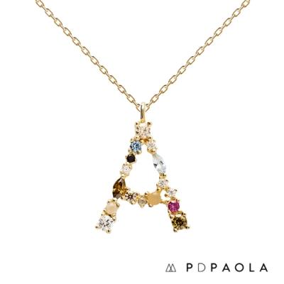 PD PAOLA 西班牙輕奢時尚品牌 字母A 彩鑽寶石項鍊