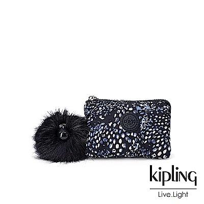 Kipling 奇幻藍羽斑紋三夾層配件包-CREATIVITY S