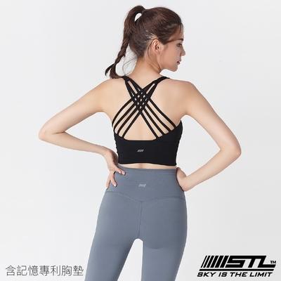 STL yoga Bra Crop Top Skyline 韓國瑜伽 天際線 運動內衣/短版背心上衣 (含專利記憶棉胸墊) 黑色Black