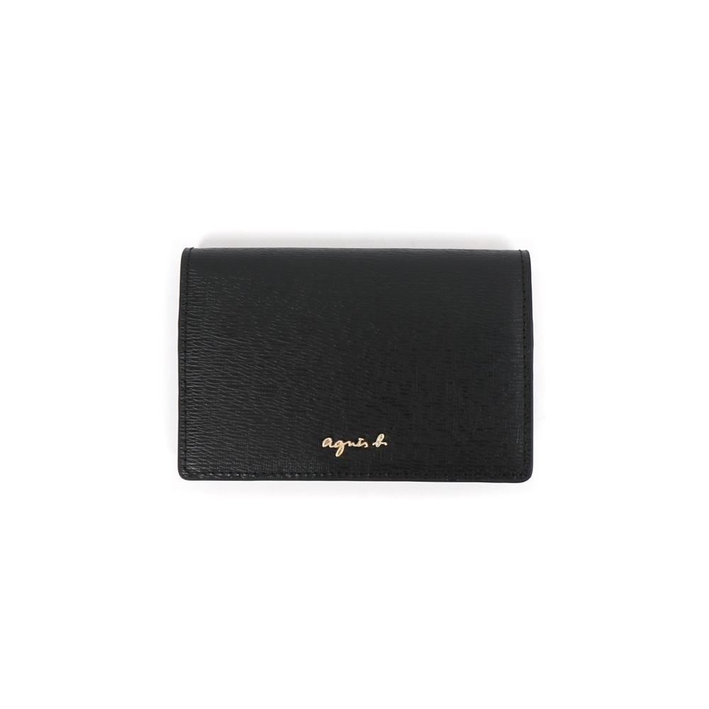 agnes b. Voyage  樹紋皮淡金logo卡片夾 (黑)