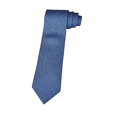 HERMES愛馬仕7 H YOYO經典緹花LOGO交叉織紋設計蠶絲領帶(藍x深藍)