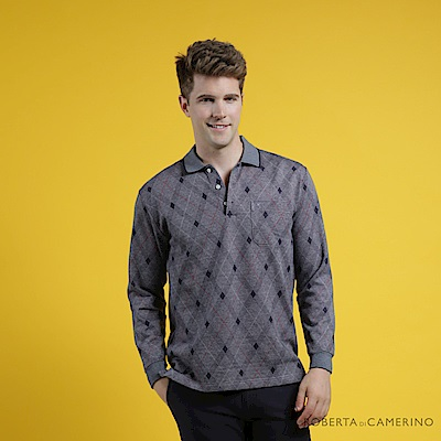 ROBERTA諾貝達 台灣製 時尚型男 撞色菱格線條長袖POLO棉衫  灰藍