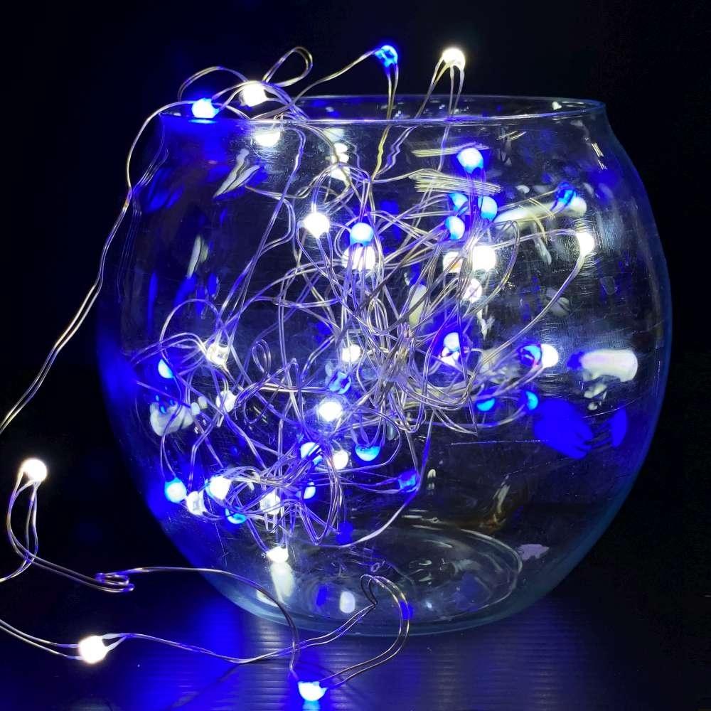 50燈LED大頭銅線燈串藍白光-USB電池盒兩用充電(贈遙控器)浪漫星星燈聖誕燈串