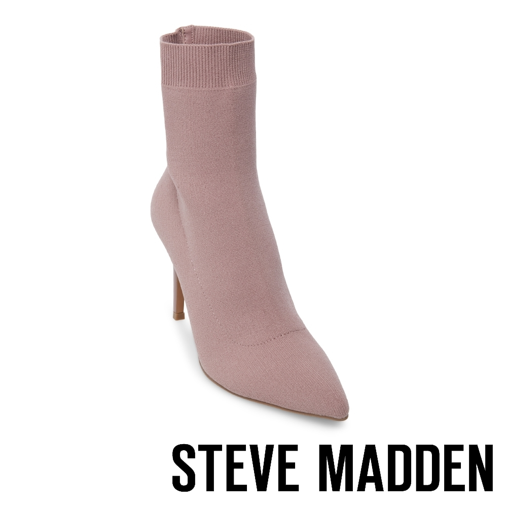 Steve Madden-CLAIRE 極致美腿襪針織襪套尖頭短靴-特殊紋粉紅色 product image 1