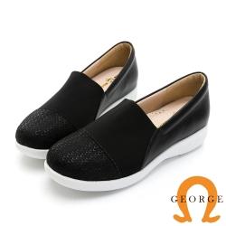 【GEORGE 喬治皮鞋】真皮壓紋彈性萊卡雙面料休閒鞋-黑