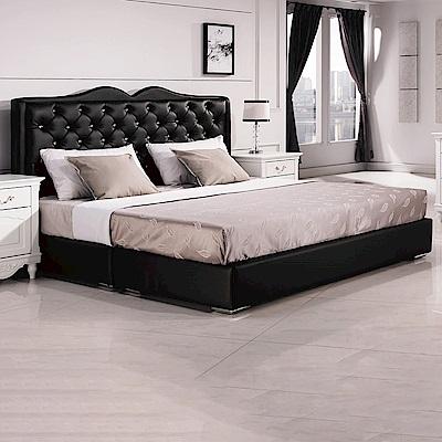 AS-黑色6尺皮革厚床底-184*192*26cm
