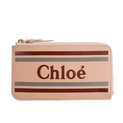 CHLOE 新款VICK TRIFOLD 英文字母LOGO牛皮拉鍊零錢卡包 (米色)