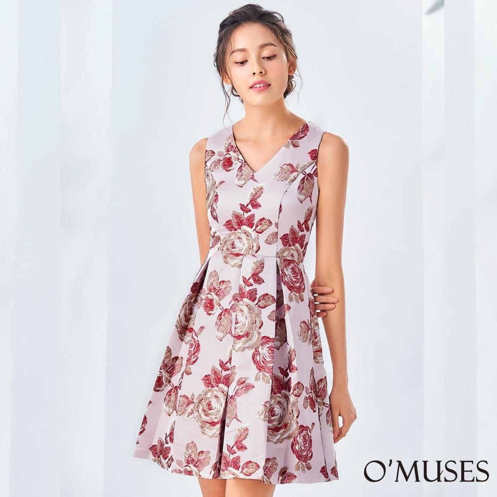 OMUSES V領緹花A-Line壓褶裙襬洋裝