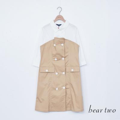 beartwo-假兩件洋裝-卡其
