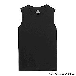 GIORDANO 男裝純棉素色無袖背心-02 標誌黑