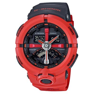G-SHOCK前衛時尚渾圓帥氣風格城市運動概念錶(GA-500P-4A)-紅框X黑48.9mm