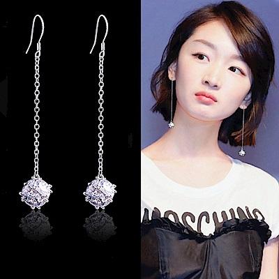 梨花HaNA 韓國925銀水晶燈女人味耳線長耳環