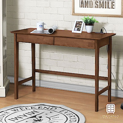 漢妮Hampton凱恩實木雙抽小書桌-胡桃木色-105x45x75cm