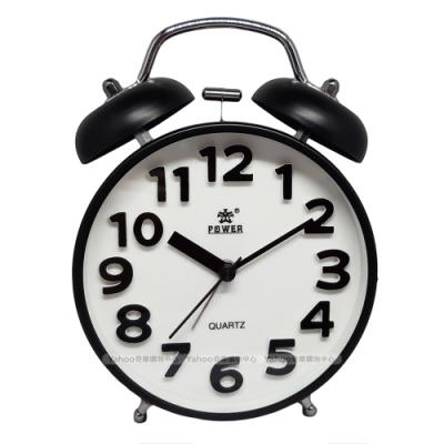 POWER霸王鐘錶-復古打鈴鬧鐘-耀岩黑-TD6645BK-15CM