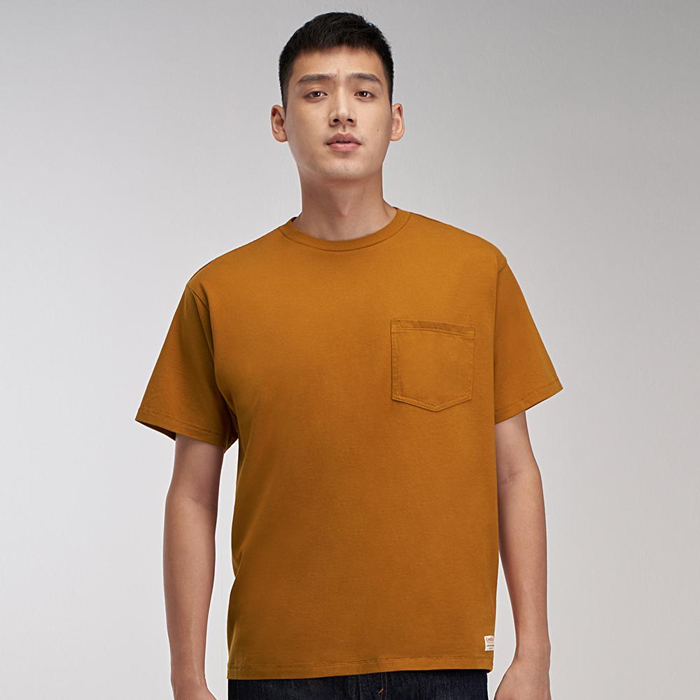 Levis Red 工裝手稿風復刻再造 男款 短袖T恤 寬鬆休閒版型 杏仁棕