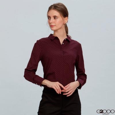 G2000暗紋長袖上班襯衫-紫紅色
