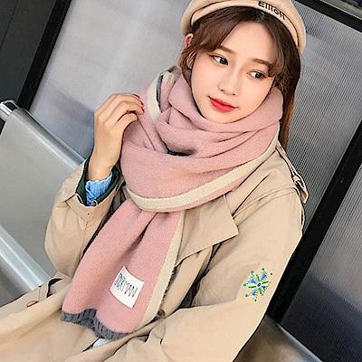 Decoy 雙色彩框 學院男女中性保暖圍巾 粉