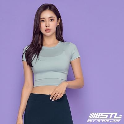 STL yoga 韓國瑜珈 ESSENCE Line Up 本質短版合身(有肩線)運動機能短袖圓領上衣 霧藍SkyVail