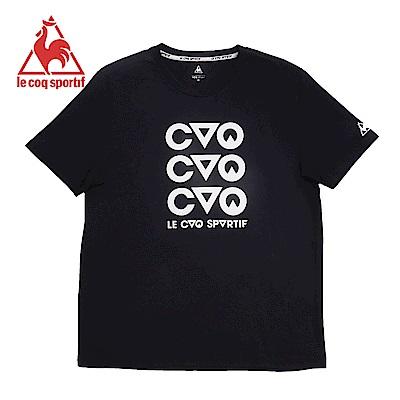 le coq sportif 法國公雞牌摩登LOGO印花修身短袖T恤 男-黑