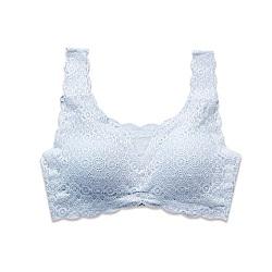 Show bra美背無鋼圈蕾絲內衣(藍)