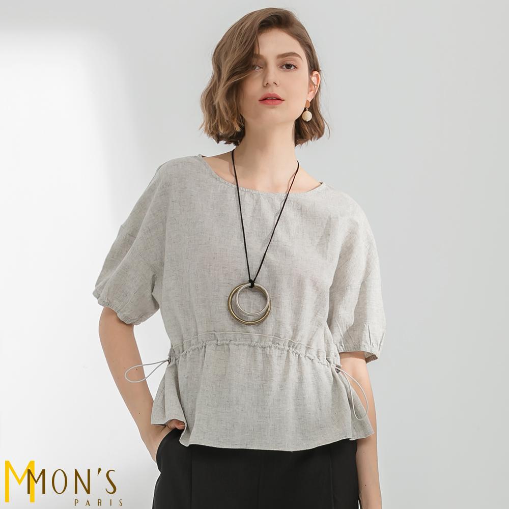MONS  品味生活抽繩收腰短袖苧麻上衣