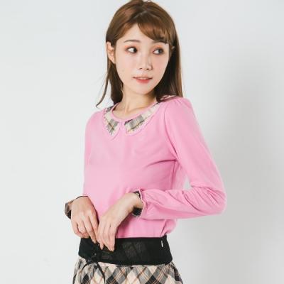 【Kinloch Anderson金安德森女裝】配格領片縫珠織帶上衣 粉紅