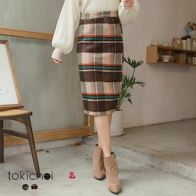 東京著衣 優雅名伶復古格紋後開岔毛尼窄裙-S.M.L(共二色)