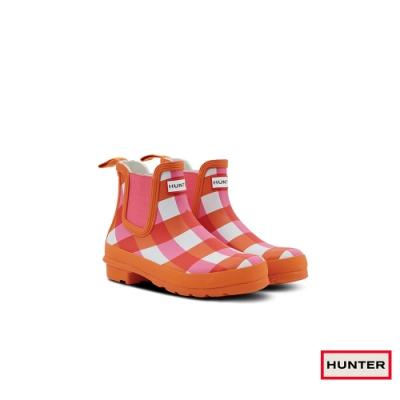 HUNTER - 女鞋-切爾西亮面踝靴 - 橘