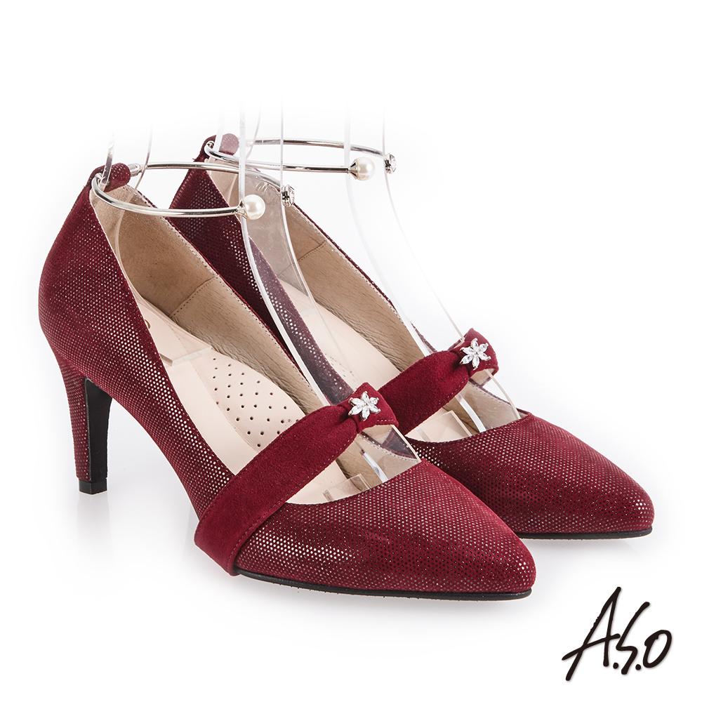 A.S.O 百變女伶 可拆帶式尖頭高跟鞋 酒紅