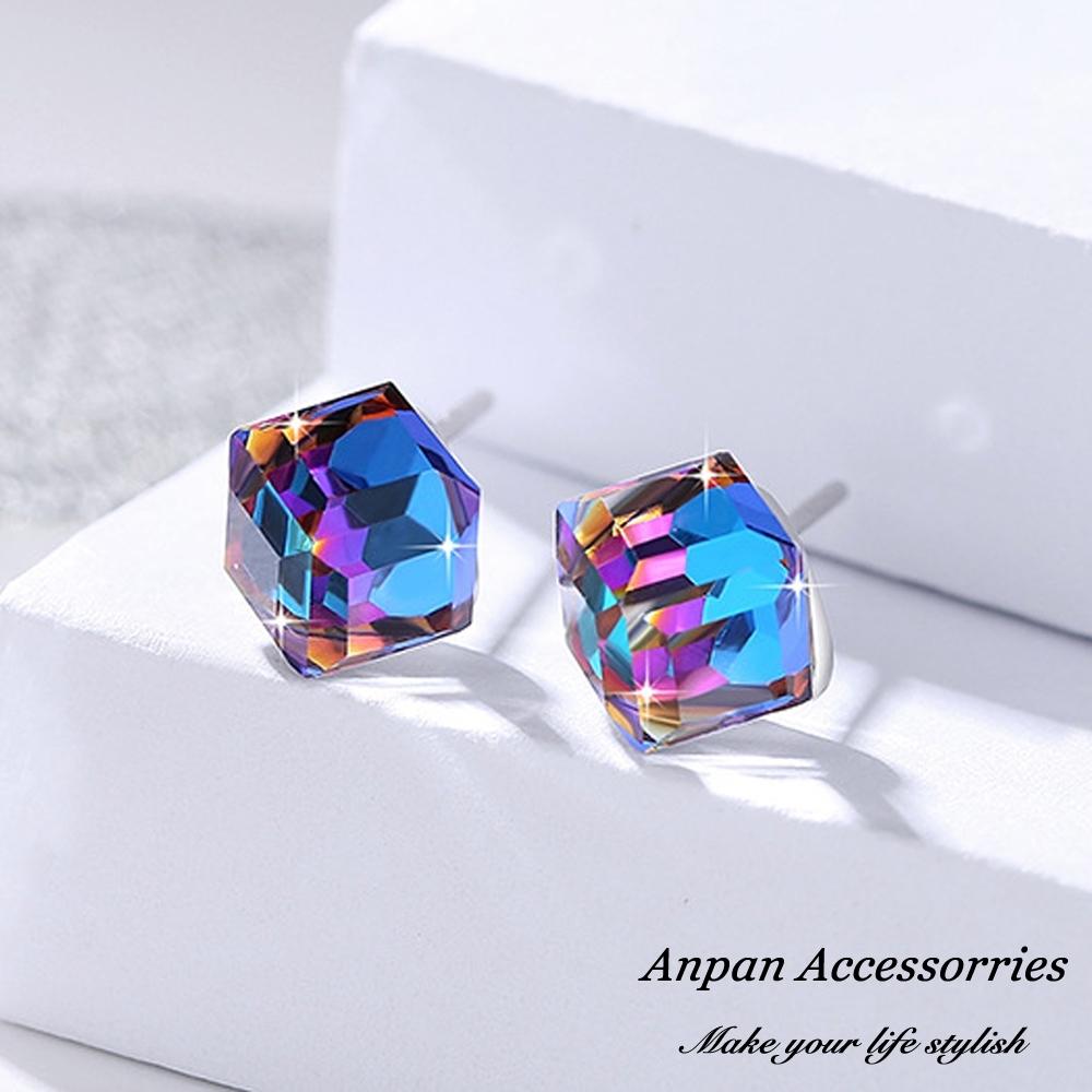 ANPAN愛扮S925純銀飾水晶魔立方彩色夢幻藍耳釘式耳環