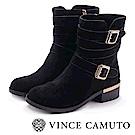 VINCE CAMUTO 金屬扣雙繫帶低跟中筒靴-絨黑