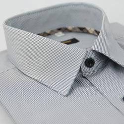 金‧安德森 經典格紋繞領細黑格黑釦吸排長袖襯衫