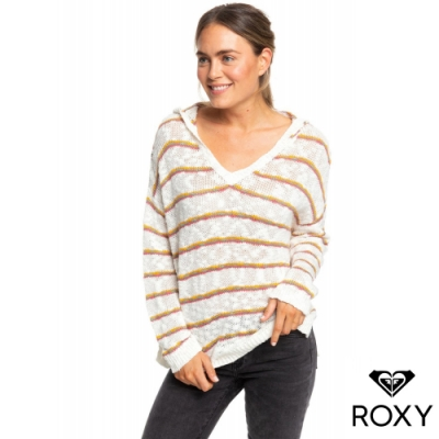 【ROXY】SANDY BAY BEACH STRIPE 連帽針織衫 米色