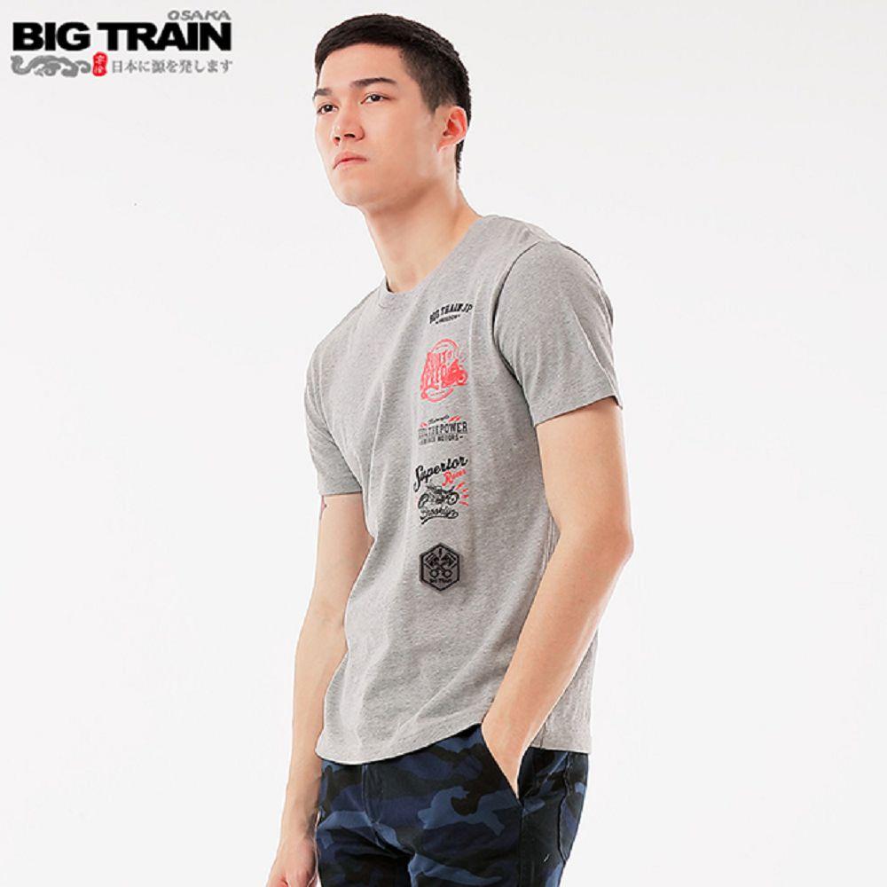 BigTrain加大休閒基本短袖圓領T-男-麻灰