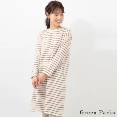 Green Parks 橫條紋圓領長版上衣