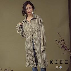 東京著衣-KODZ 簡約美學兩穿長版襯衫式洋裝罩衫-S.M.L(共二色)