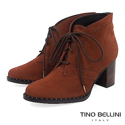 Tino Bellini 巴西進口斜口金屬綁帶高跟短靴 _ 棕