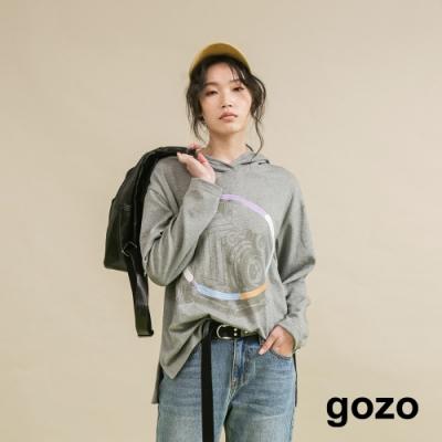 gozo 復古相機彩色繡花連帽上衣(二色)