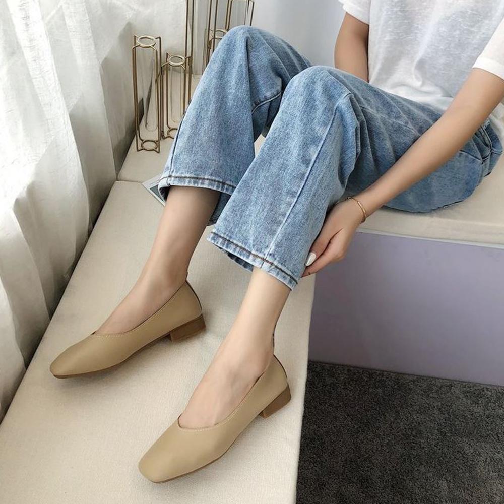 LN 現+預 經典款方頭低跟包鞋-4色 (駝色)