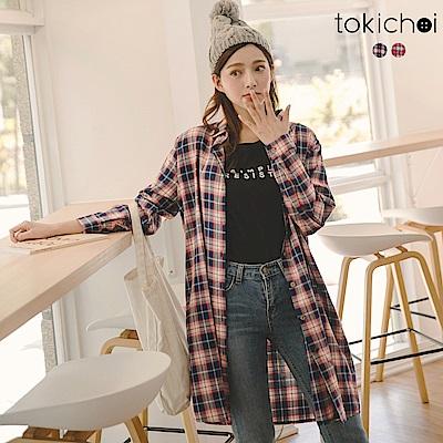 東京著衣 不退流行率性休閒格子長版襯衫(共二色)
