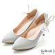 DIANA 6.5cm 法式鑽石紋水鑽蝴蝶結夾飾婚鞋-璀璨閃耀-晶亮銀 product thumbnail 1
