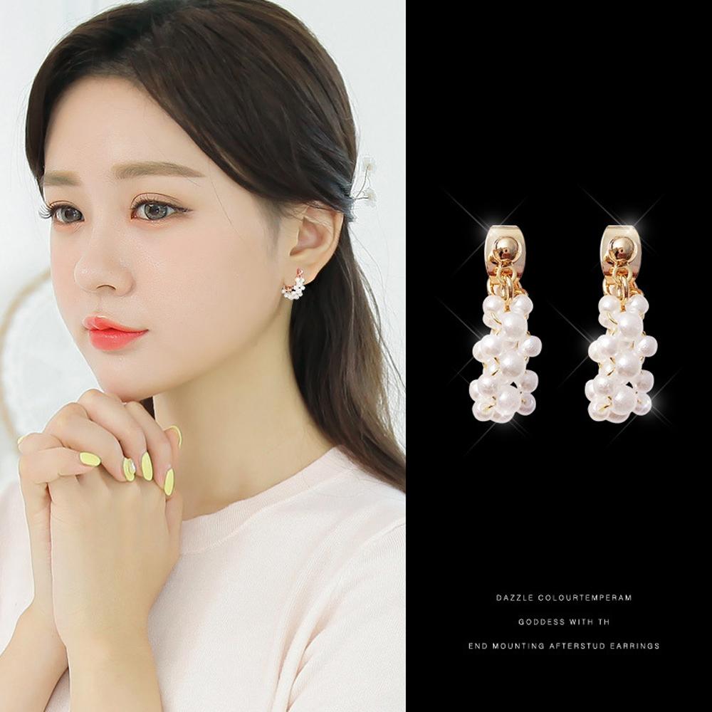 梨花HaNA 韓國925銀針小巧迷人珍珠串鍊氣質耳環