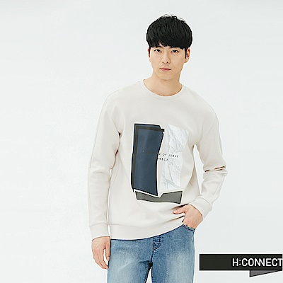 H:CONNECT 韓國品牌 男裝-幾何紋路印花上衣-卡其