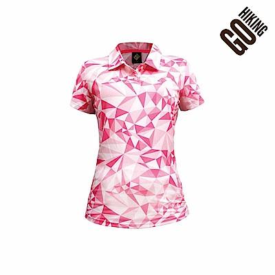 【GOHIKING】女幾何印花吸排涼感polo衫