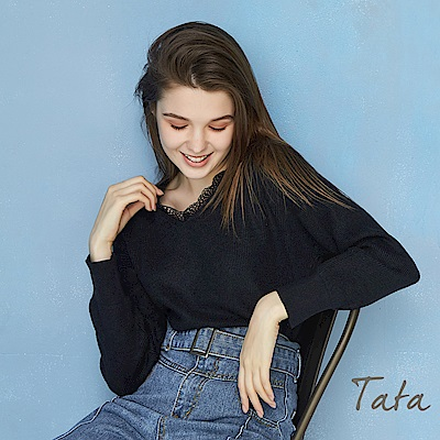 V領蕾絲針織上衣 TATA