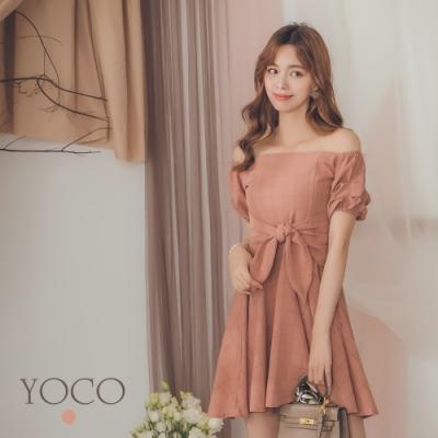 東京著衣-YOCO 甜美教主平口拋袖蝴蝶結綁帶洋裝-S.M.L
