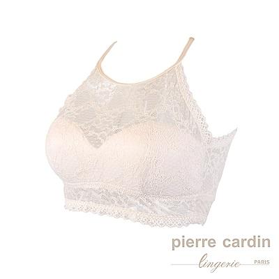 Pierre Cardin皮爾卡登 蕾絲性感環頸美背無鋼圈內衣(淺粉)