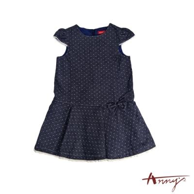 Annys淘氣可愛點點蝴蝶結公主袖蕾絲裙擺洋裝*2401藍