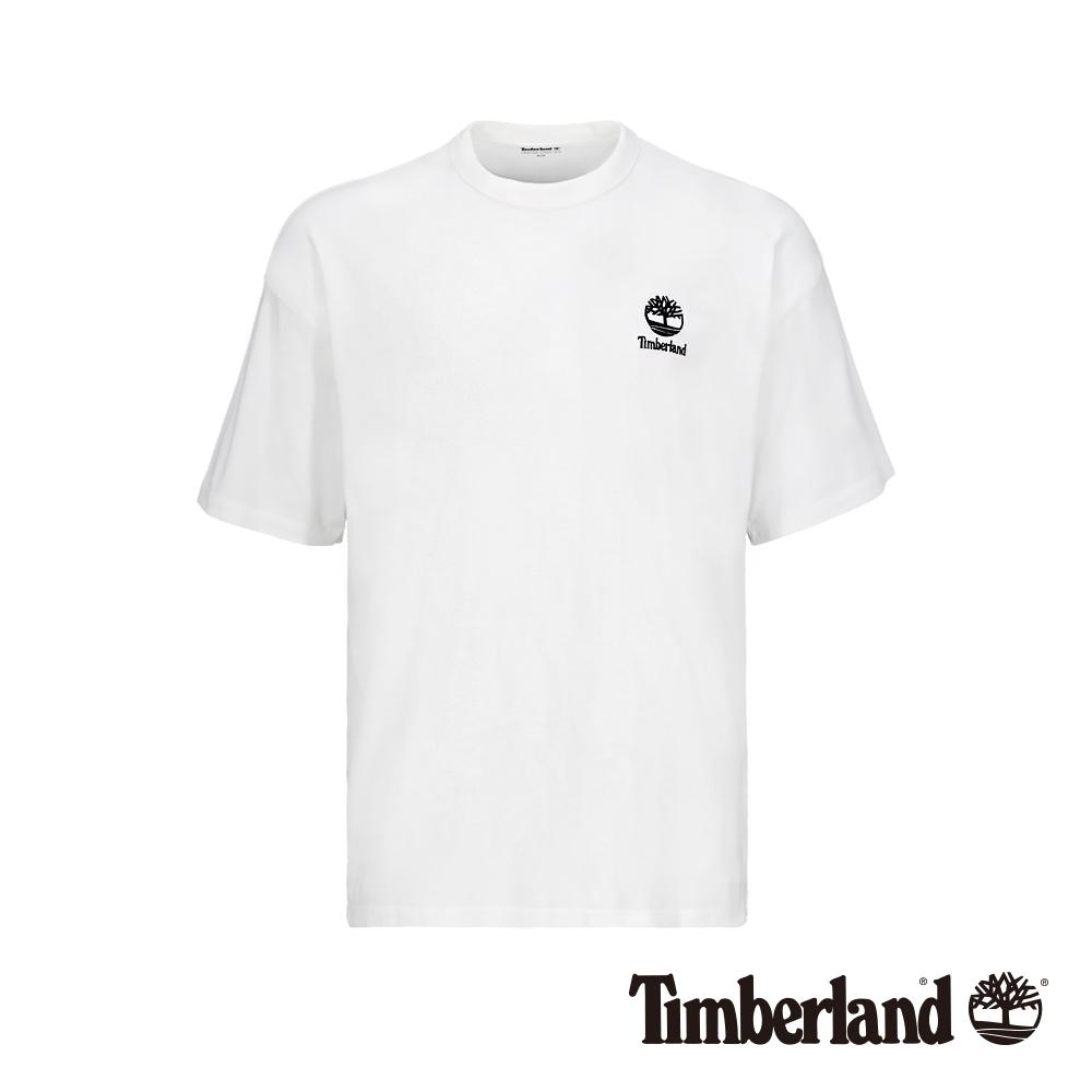 Timberland 男款白色背後美式大印花寬鬆短袖T恤 A1YKG